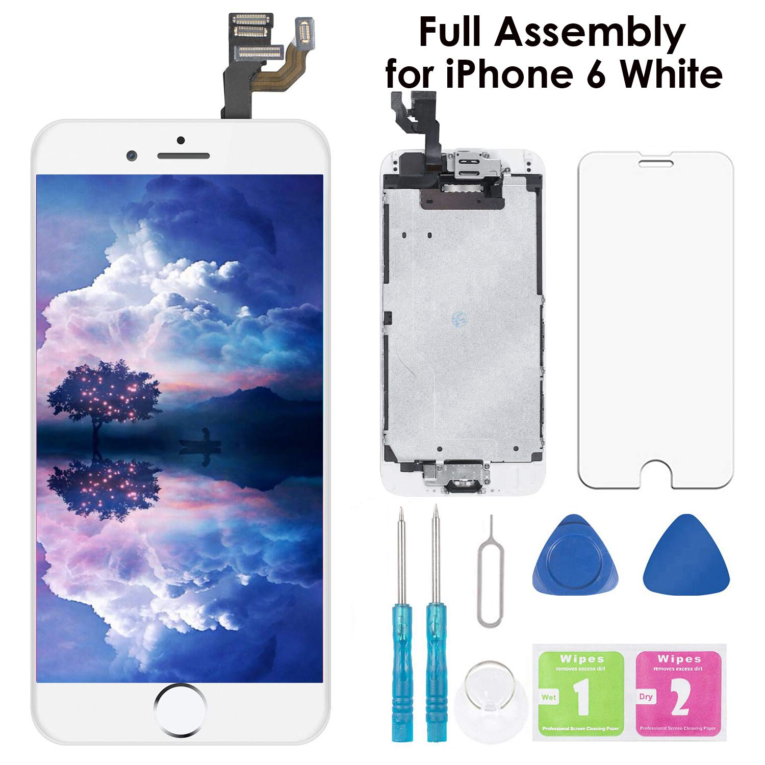 Screen Replacement for iPhone 6 White 4.7 Inch LCD Display Full Assembly Touch Digitizer A1586 A1549 A1589 with Home Button, Front Camera, Proximity Sensor, Earpiece and Screen Protector