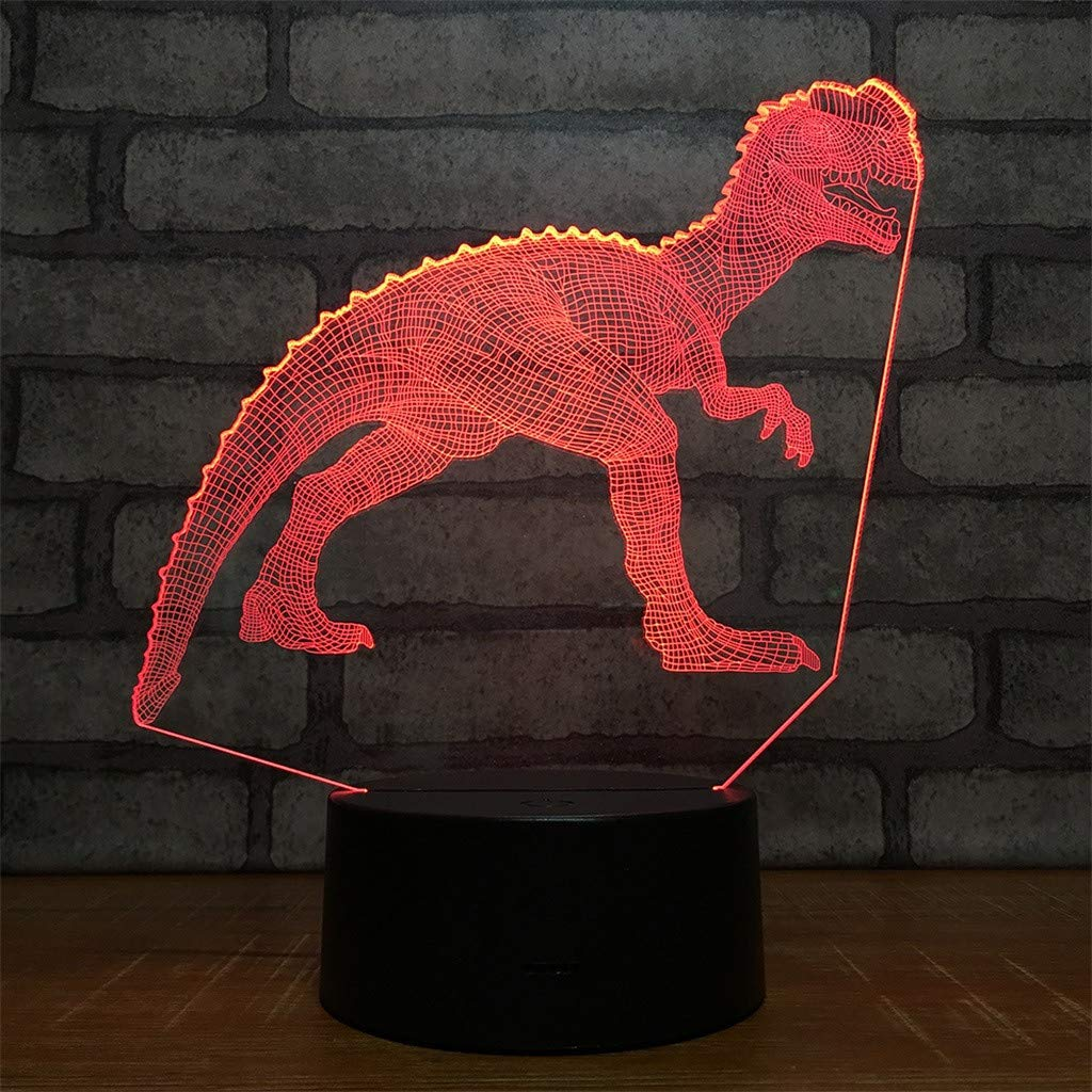 Dinosaur Night Lights for Kids T Rex Christmas Gift Birthday Indoraptor Toy 3D Illusion Lamp Dino Gifts for Boys Home Bedroom Party Supply Decoration 7 Color Blue Velociraptor Raptor (dino3)