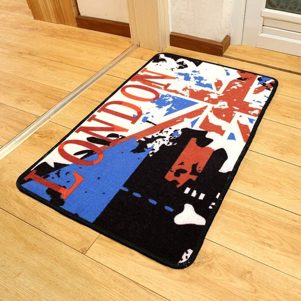 YNG Alfombra Colchón Puerta Mat Modern Bar Word Flag Inglés Viento Puerta Entrada Cocina Baño Non-Slip Mats,80 * 120 cm
