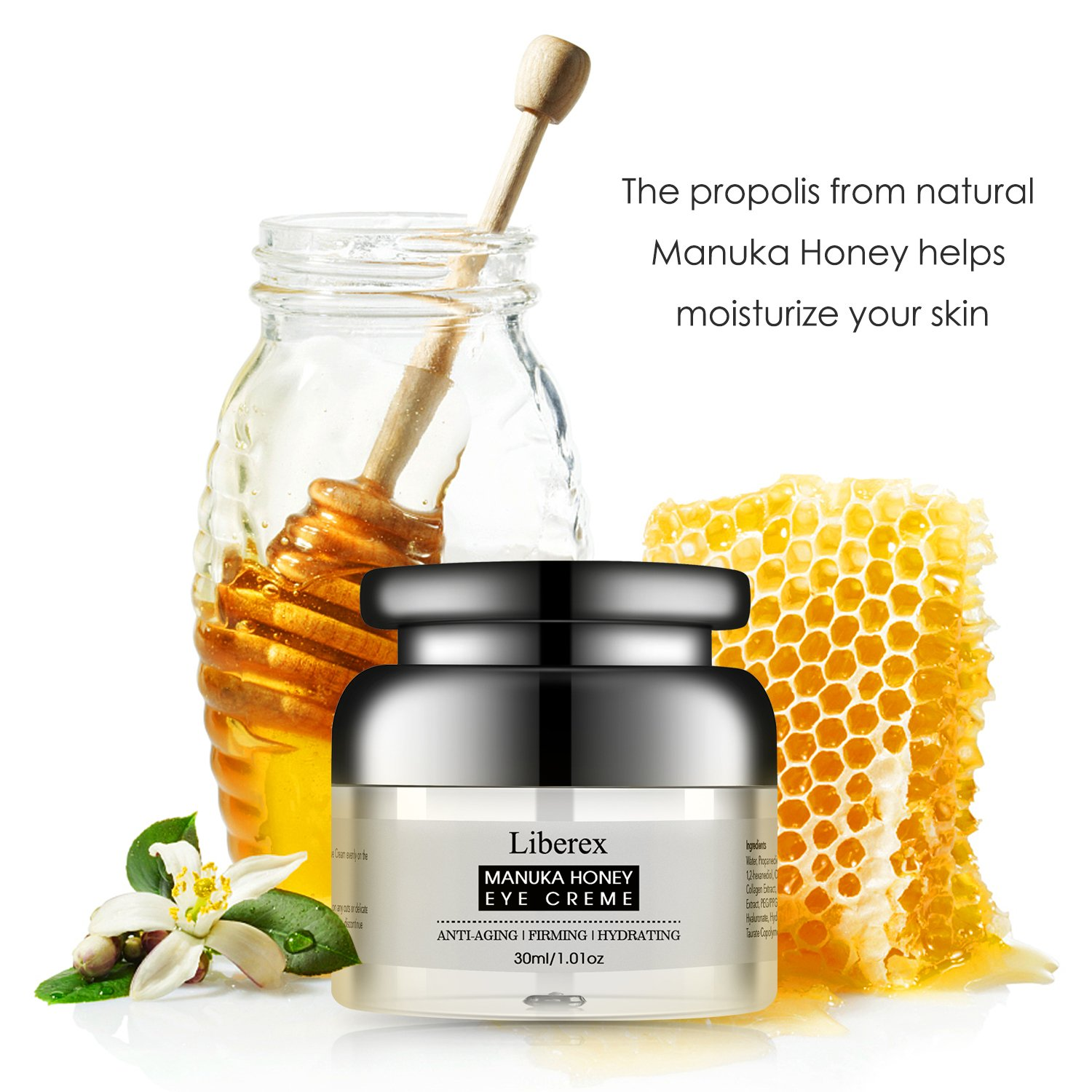 Liberex Honey Eye Cream For Women Men Dark Circles Puffiness Bio Treatment Essence In Oil 60ml Free Miracle Water 30ml Wrinkles And Bags Reducer With Natural Propolis From Manuka Under Around Eyes 101 Oz Beauty