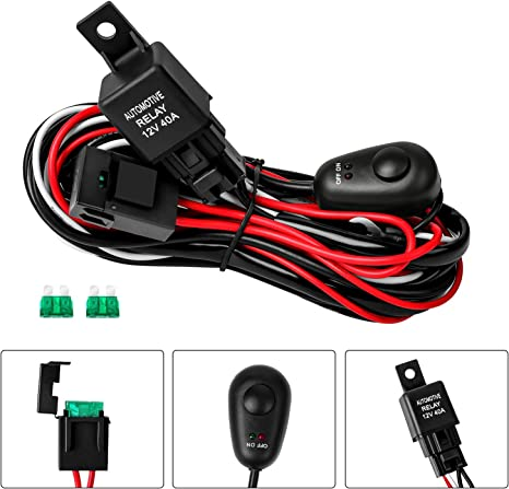 zmoon led light bar wiring harness, off road on off 12v 40a with 3 fuse power switch relay for led work lights driving fog light ohio state patrol auxiliary off road auxiliary lights harness #2