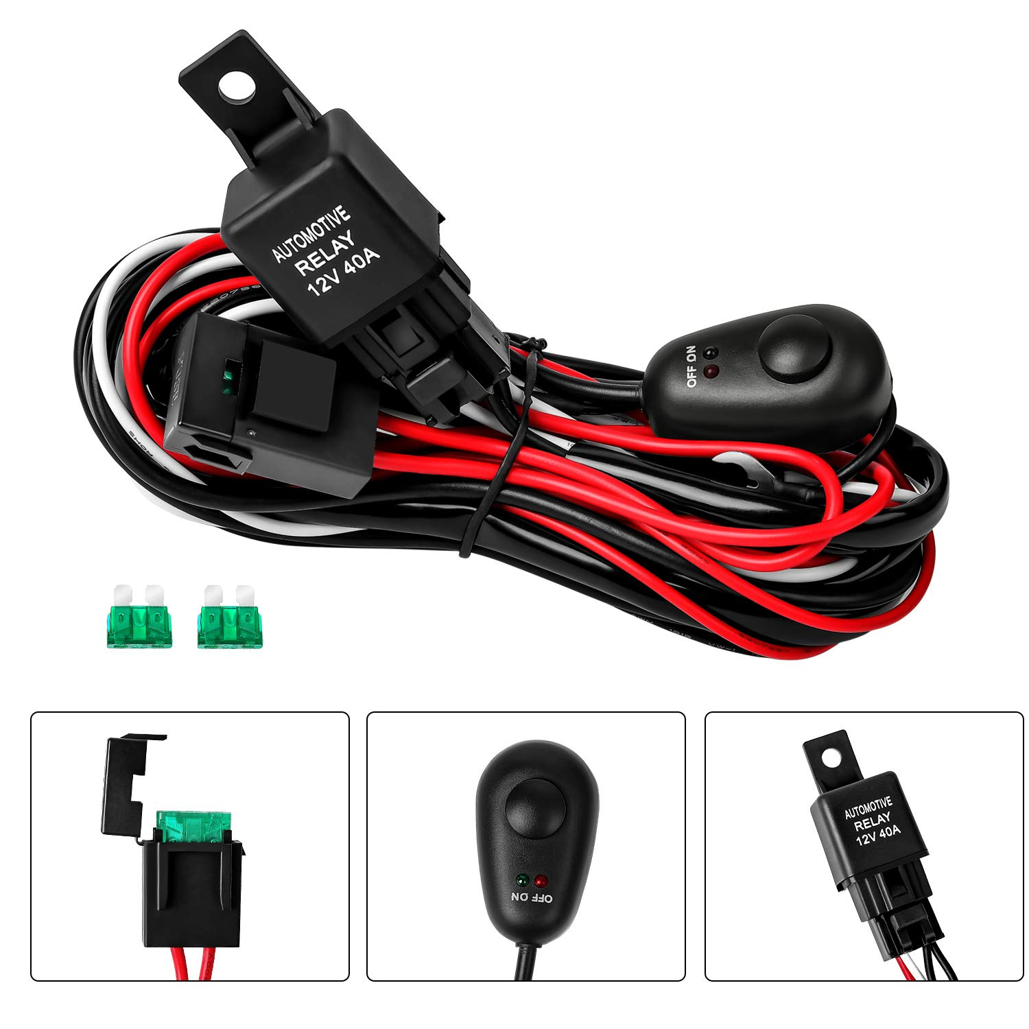 led light bar wiring harness, off road on off 12v 40a with 3 fuse power switch relay for led work lights driving fog light Light Wiring Harness