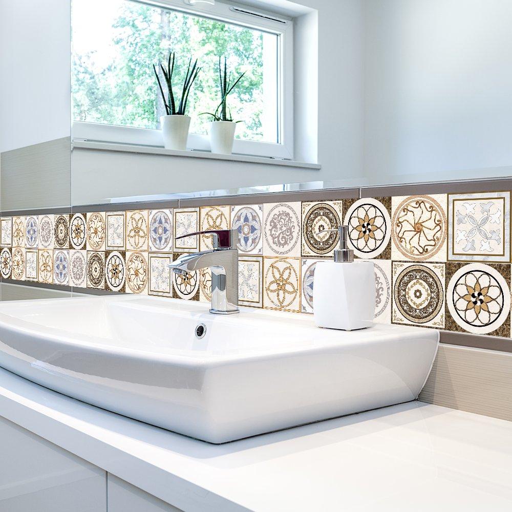 3D Tile Stickers 7.87 x 196.85 in - Stylish Backsplash Bathroom ...