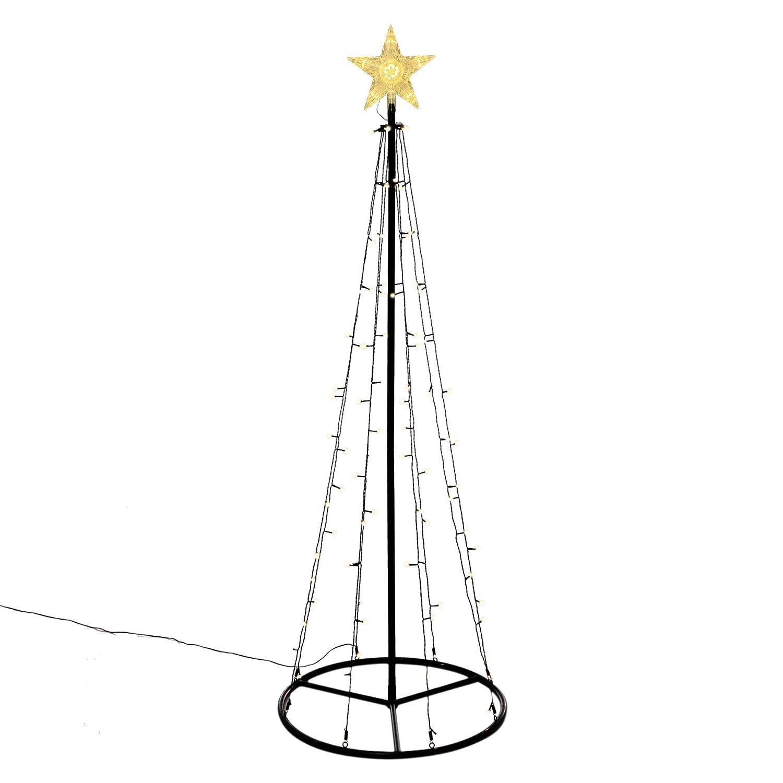 106 LED warm weiß Lichtpyramide mit Leucht-Stern Lichterbaum 180 cm Baum mit Stern Trafo Weihnachtsbaum Weihnachtsdeko Außen Leuchtbaum Nipach GmbH