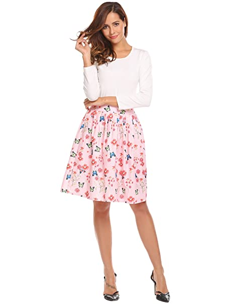 2d2cc6af0aae Midi Pleated A-line Flare Floral Womens Skirt Vintage Flower Print ...