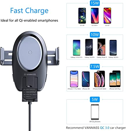 VANMASS Wireless Car Charger, 15W Qi Fast Charging Auto-Clamping Car Mount, Air Vent Phone Holder Compatible with iPhone 11 11 Pro Pro Max XS MAX XS XR X 8, Samsung Note 10 S10 S9 S8 S7, Pixel LG