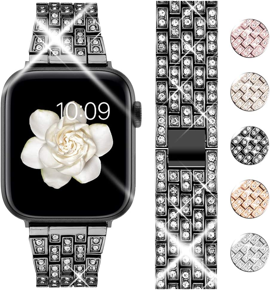 Goton Bling Band Compatible for Apple Watch Band 40mm 38mm , Women Luxury Diamond Bling Crystal Stainless Metal Replacement Strap for iWatch Band Series 6 5 4 3 2 1 (Black - 40mm 38mm)