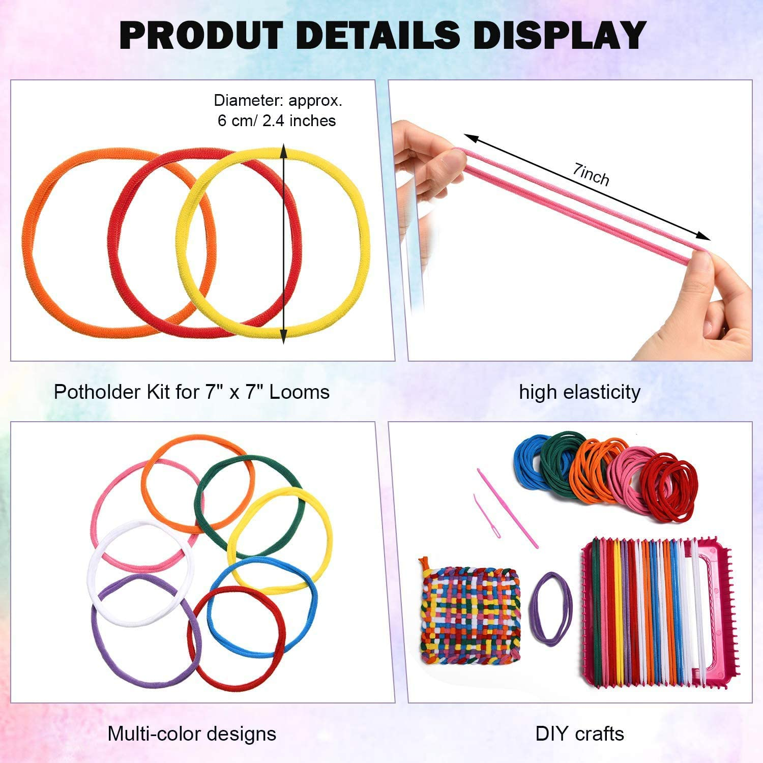 Eeoyu 192 Pieces Loom Potholder Loops Weaving Loom Loops with Multiple Colors for Kids DIY Crafts Supplies