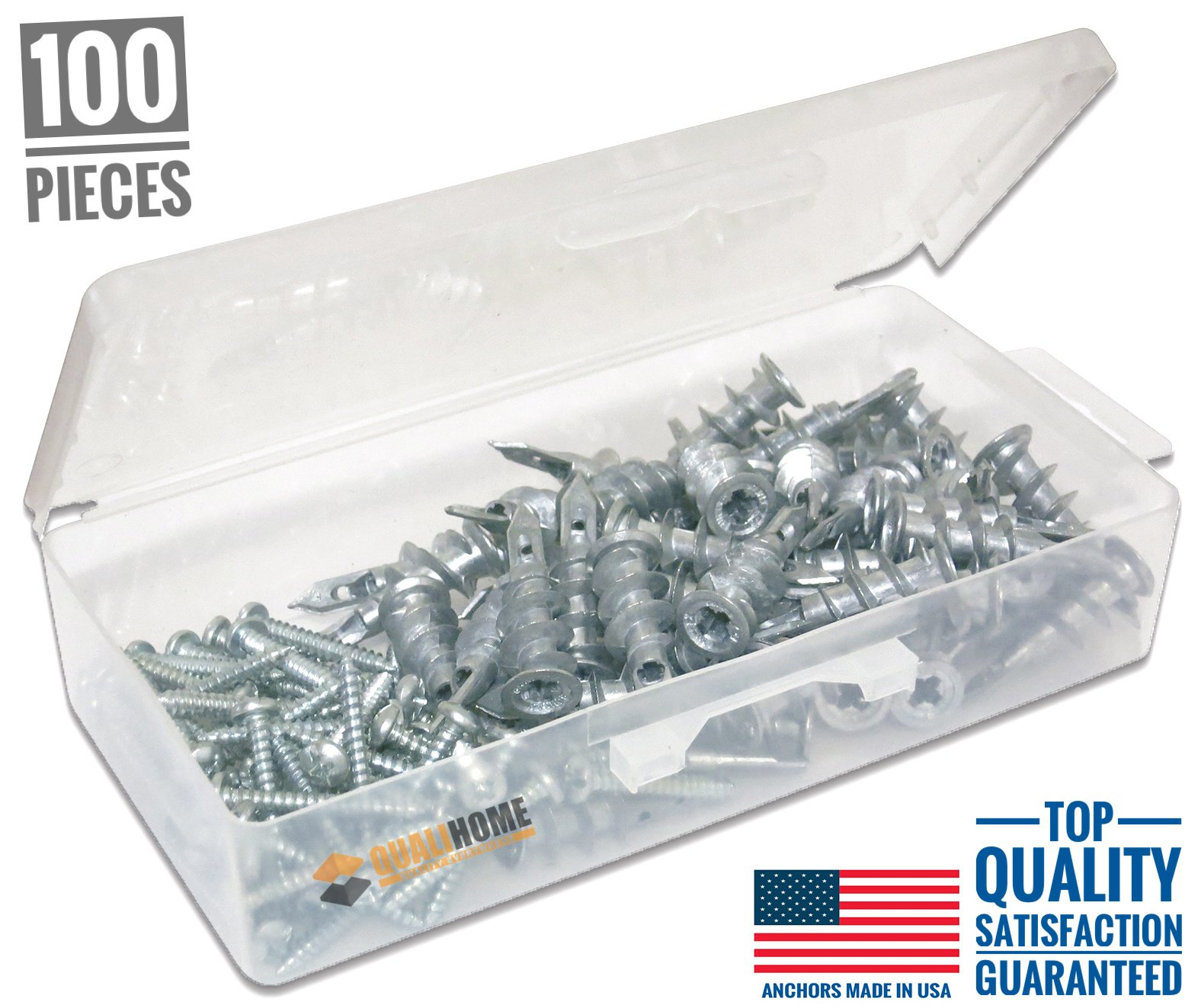 #1 Best Quality Zinc Self Drilling Drywall Anchors with Screws Kit, 100 Pieces All Together by Qualihome