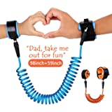 2 Pack Anti Lost Wrist Link, Wimaha Safety Velcro Skin Friendly Cotton Wrist Straps for Kids Toddlers, 2.5M Blue & 1.5M Orange