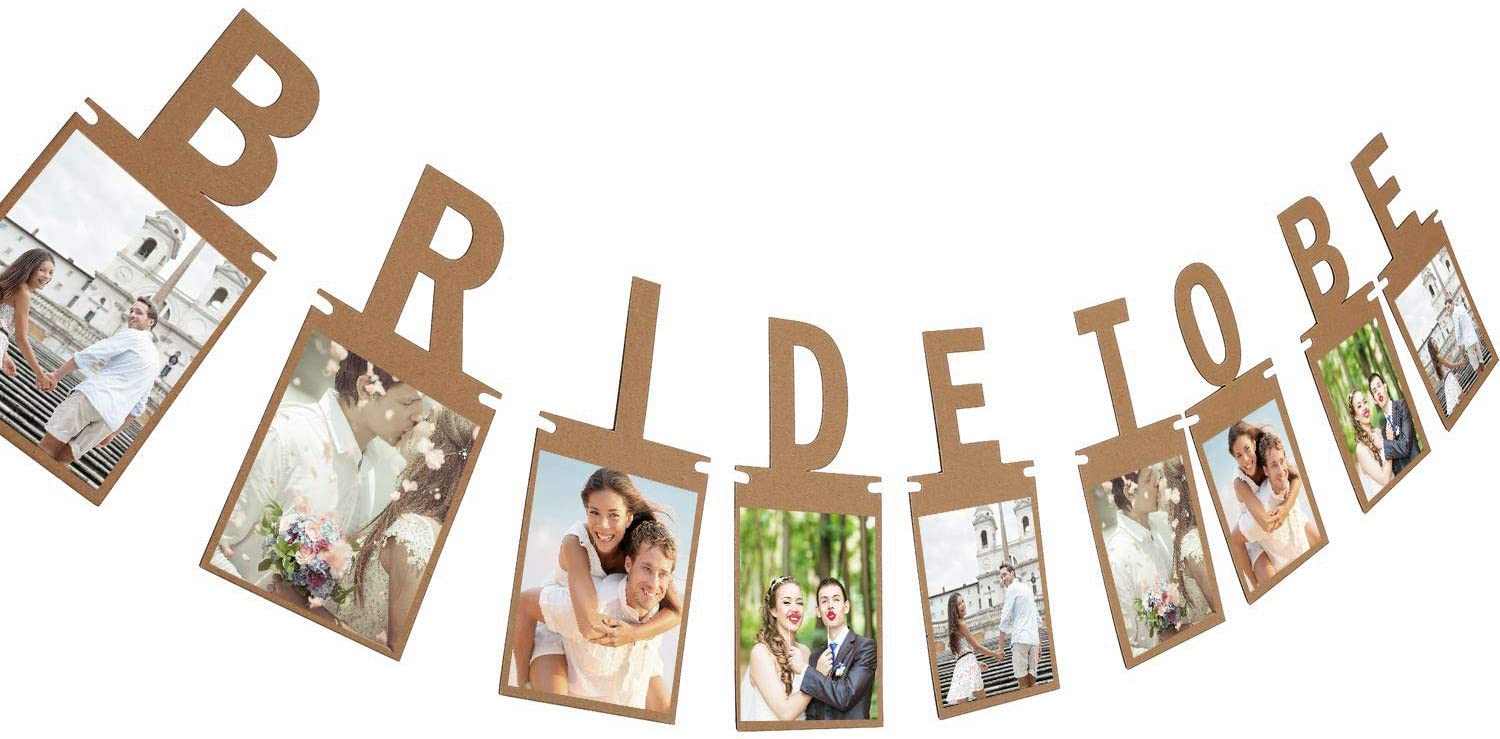 Tatuo Bridal to Be Photo Banner Bride Bunting for Wedding Decoration and Bridal Shower Party Supply (Brown)