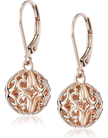 b4a469d65 Plated Sterling Silver Filigree Ball Leverback Dangle Earrings