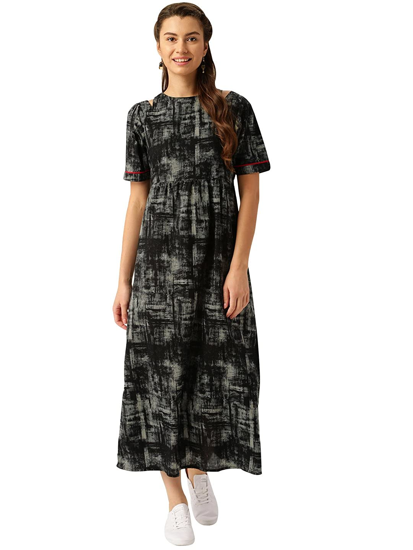 Jaipur Kurti Women s Black Straight Fit Cotton Maxi Dress  Amazon.in   Clothing   Accessories 367aaf070