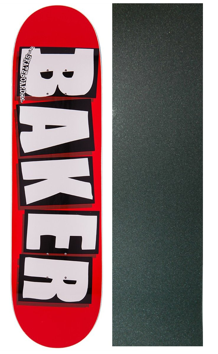 Baker Skateboards Brand Logo Red//White Skateboard Deck Bundle of 2 Items 8.5 x 32 with Mob Grip Perforated Black Griptape