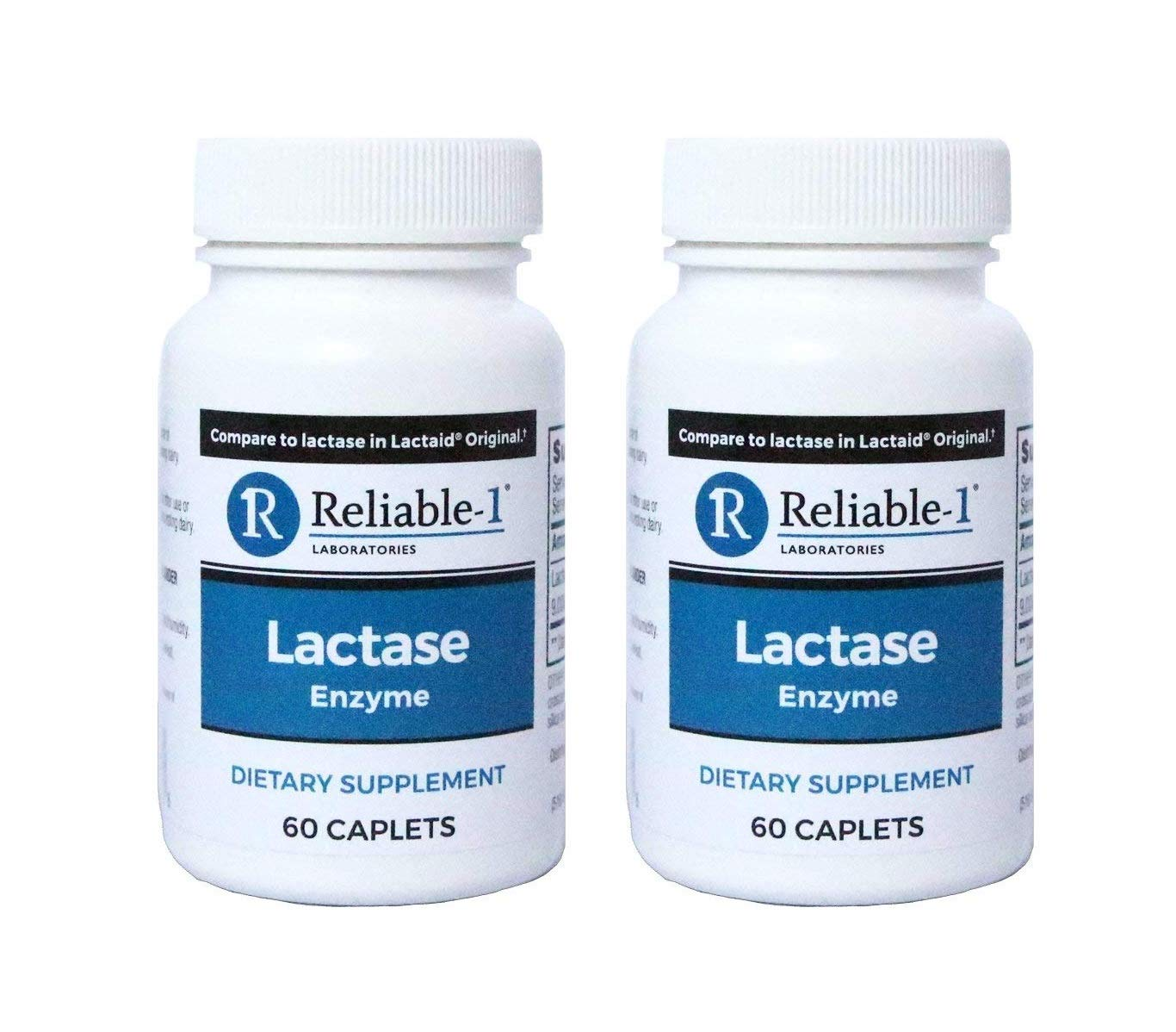 RELIABLE 1 LABORATORIES Lactase Enzyme Dietary Supplement (120 Caplets) (2-Pack) - Helps to Prevent Gas, Bloating and Diarrhea from Milk Based Products by Reliable-1 Laboratories