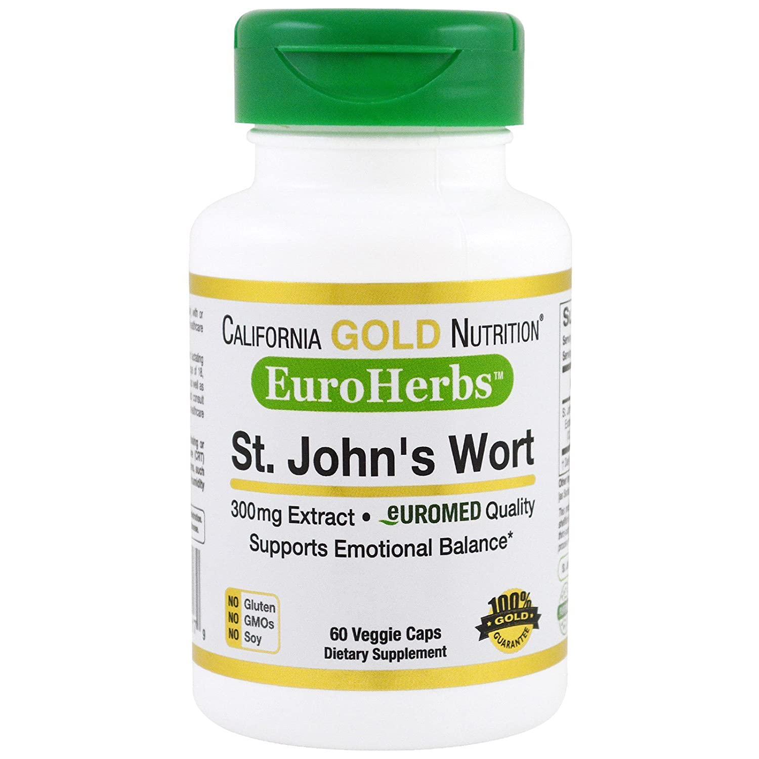 Amazon.com: California Gold Nutrition St John s Wort Extract EuroHerbs 300 mg 60 Veggie Caps, Milk-Free, Egg-Free, Fish-Free, Gluten-Free, No Artificial ...