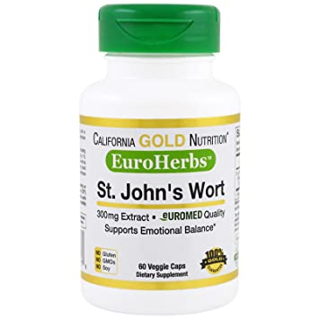 California Gold Nutrition St John s Wort Extract EuroHerbs 300 mg 60 Veggie Caps, Milk