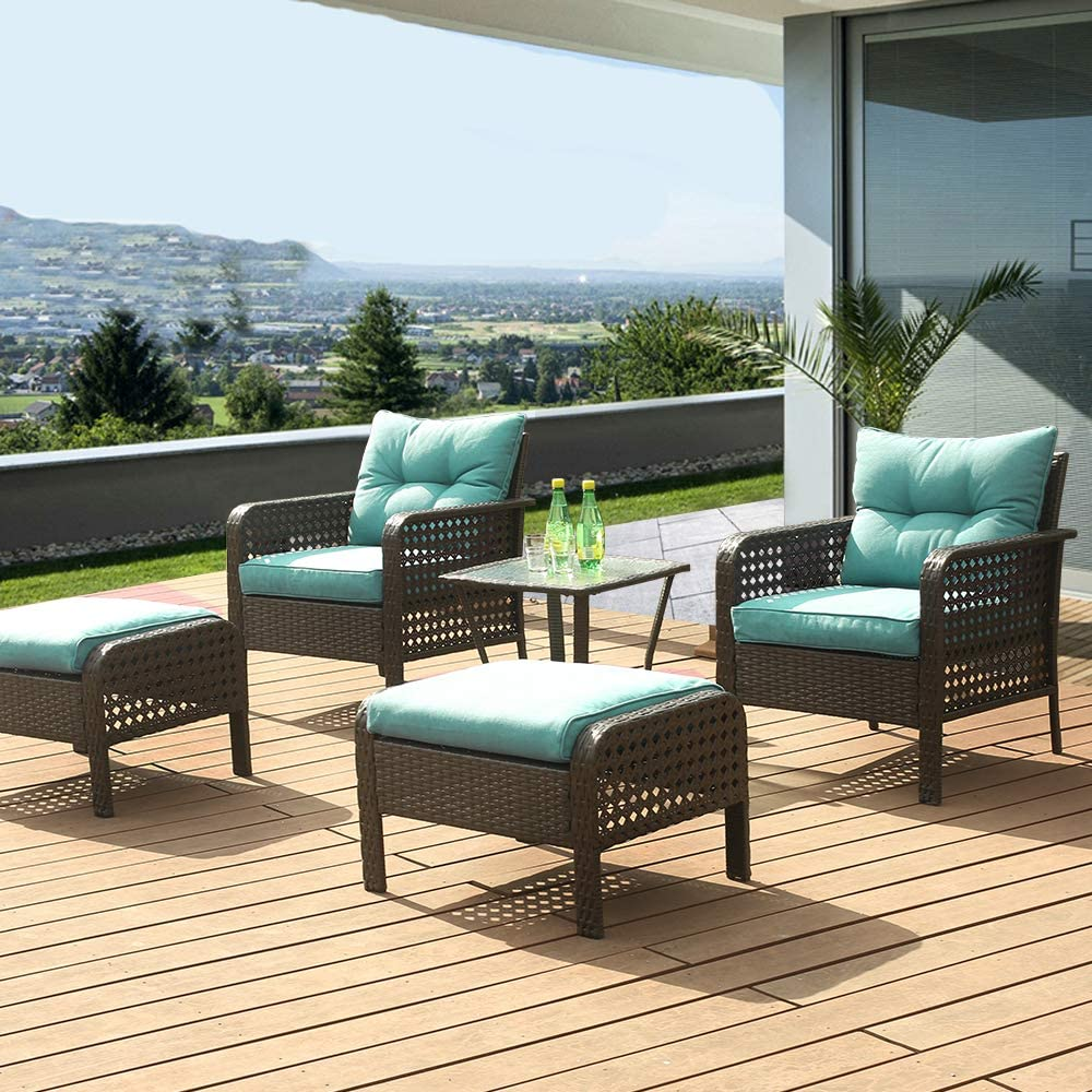 eclife Outdoor Patio Furniture Sets Rattan Sofa 5 PCS Rattan Chair Wicker Conversation Sofa Set Black Sofa Couch Furniture Set Removable Cushions W/Ottoman, Tea Table (Green)
