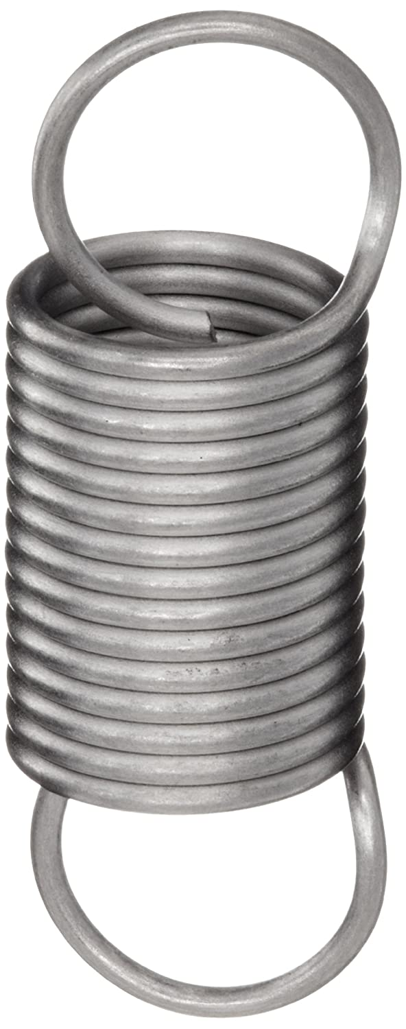 Associated Spring Raymond T41260 Extension Spring 302 Stainless Steel Metric 7.5 mm OD 0.7 mm Wire Size 28 mm Free Length 70.2 mm Extended Length 12.8 N Load Capacity 0.26 N mm Spring Rate Pack of 10