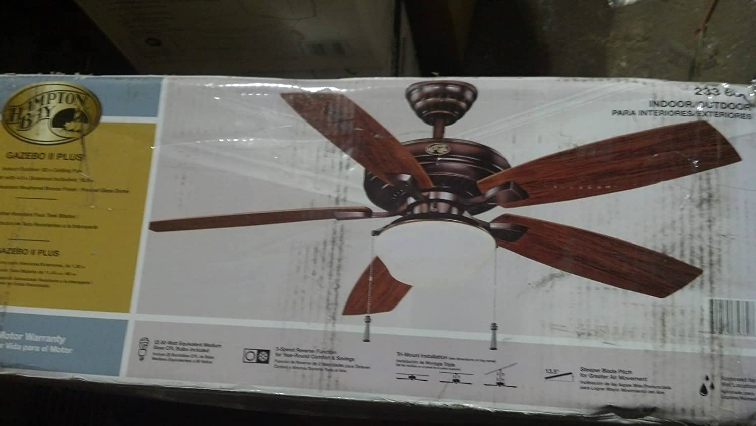 Hampton Bay Gazebo II 52 in. Indoor Outdoor Weathered Bronze Ceiling Fan