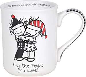 Enesco Children of the Inner Light Holiday Hug the People You Love Coffee Mug, 16 Ounce, Multicolor