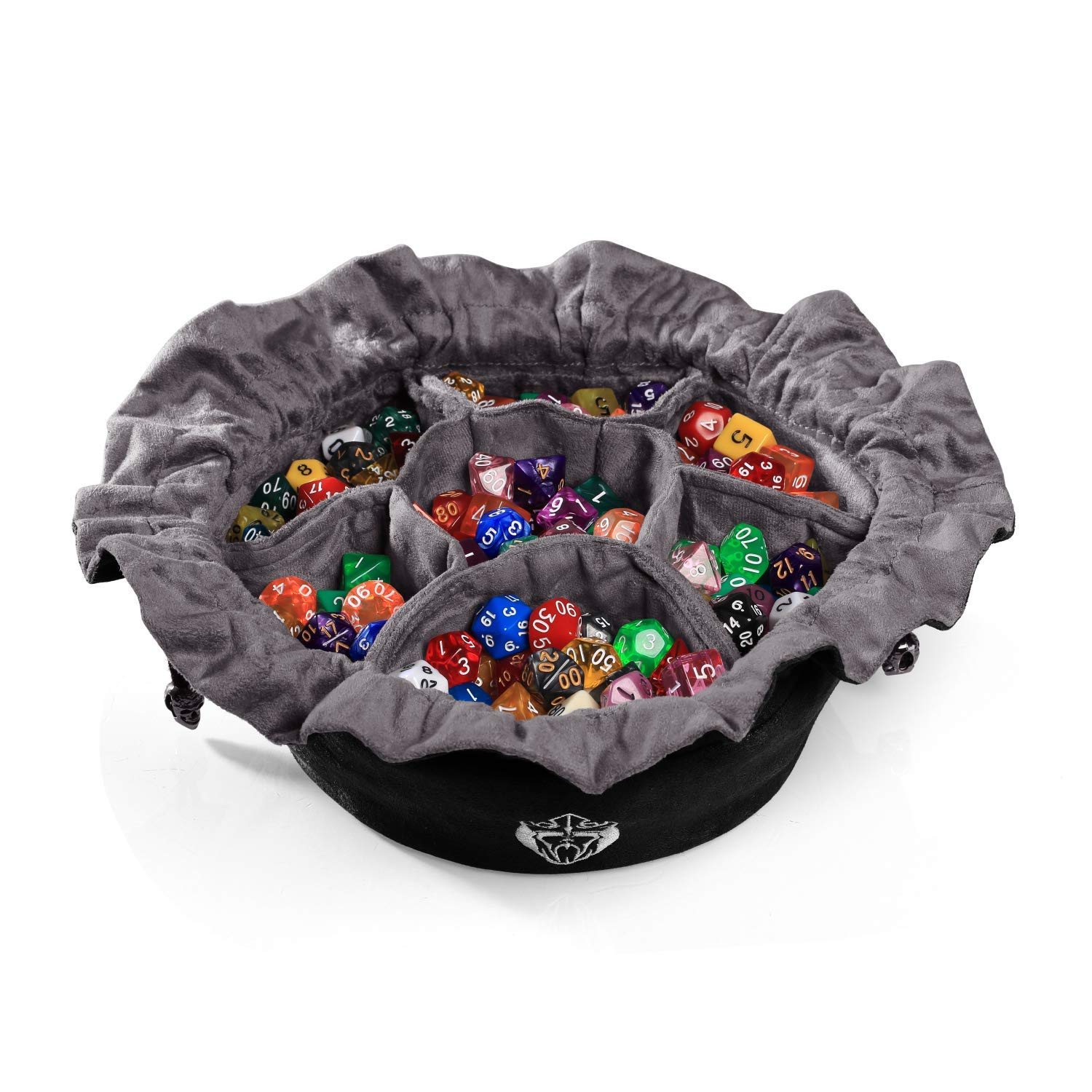 CardKingPro Immense Dice Bags with Pockets - Black - Capacity 150+ Dice - Great for Dice Hoarders by CardKingPro
