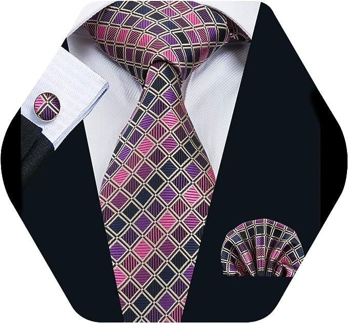 Barry.Wang Pañuelo de bolsillo de corbata de seda roja para hombre ...