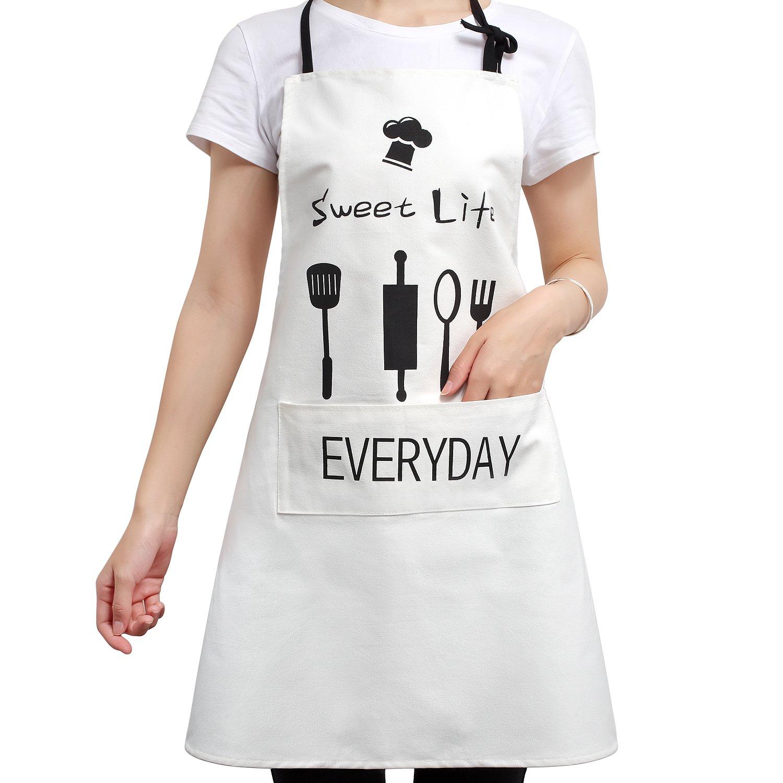F-Sport Unisex Adjustable Bib BBQ Apron Baking Kitchen Chefs with Pocket 100% Cotton Cooking for Home Kitchen, Restaurant, Coffee house, Bistro, Butchers(Black)