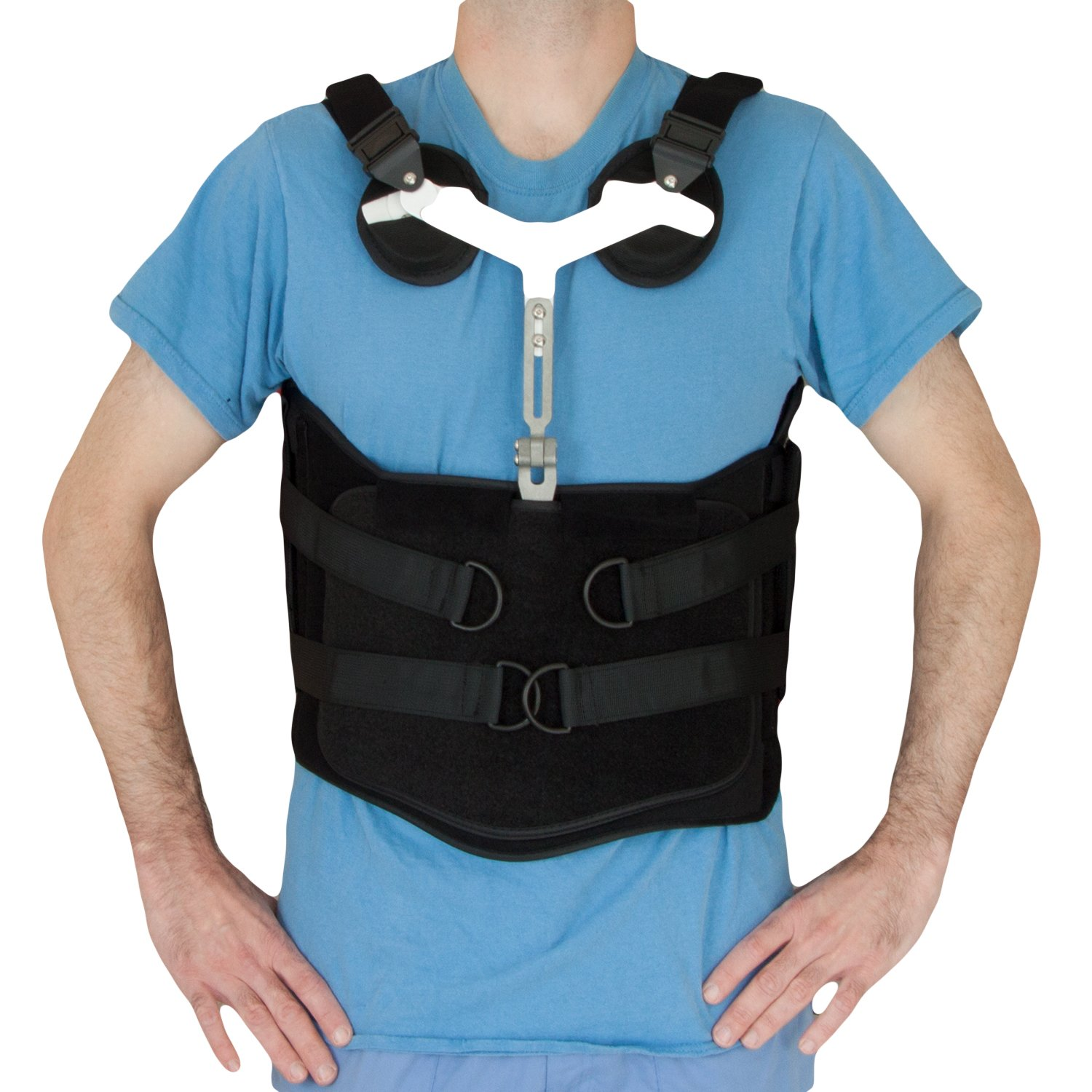 TLSO Orthosis, Back Brace 15 Degree Lordosis, SELF ADJUSTING SILICONE CHEST PADS (2XL)