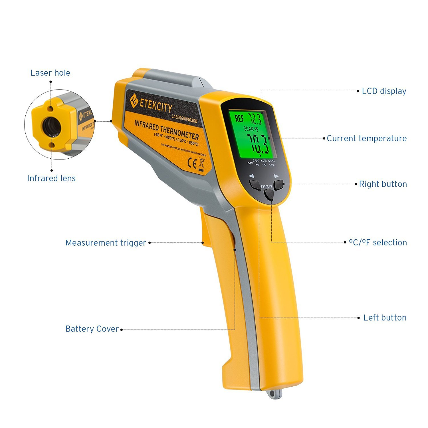 Etekcity Lasergrip1030D Infrared Thermometer Digital Dual Laser Temperature Gun Non-contact with Temperature Filtering -58℉~1022℉ (-50℃ ~ 550℃) by Etekcity (Image #4)