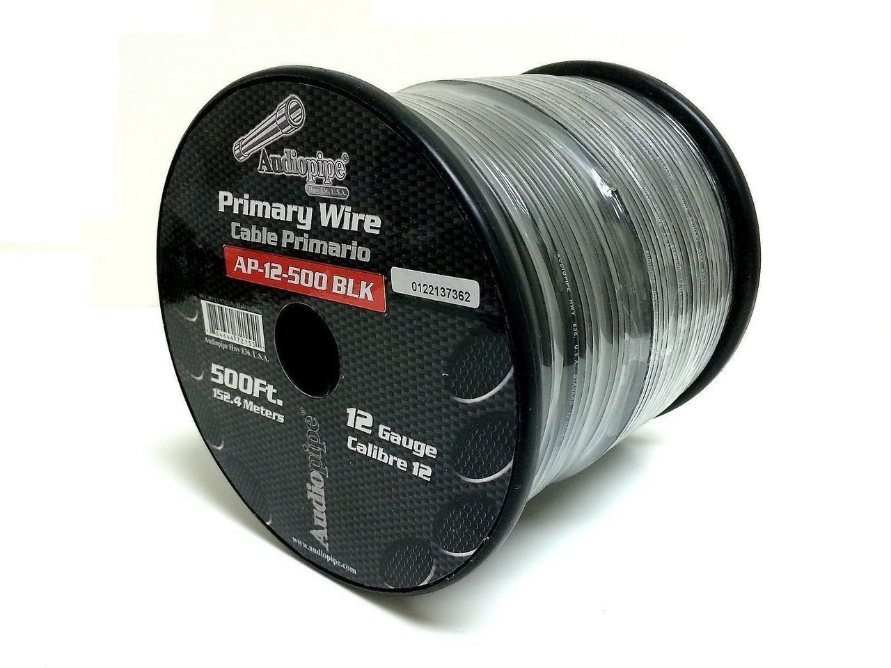 Audiopipe 500 Feet 12 Gauge AWG Black Primary Remote Wire Car Power Cable Home