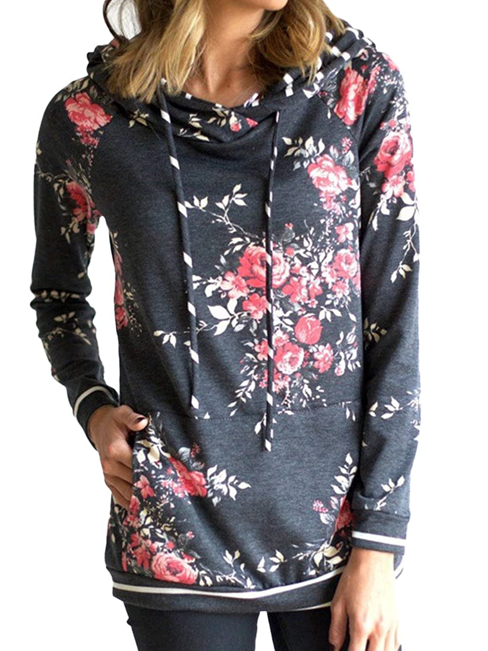 WD-Amour Women's Floral Print Casual Drawstring Long Sleeve Hoodie Pullover Sweatshirts