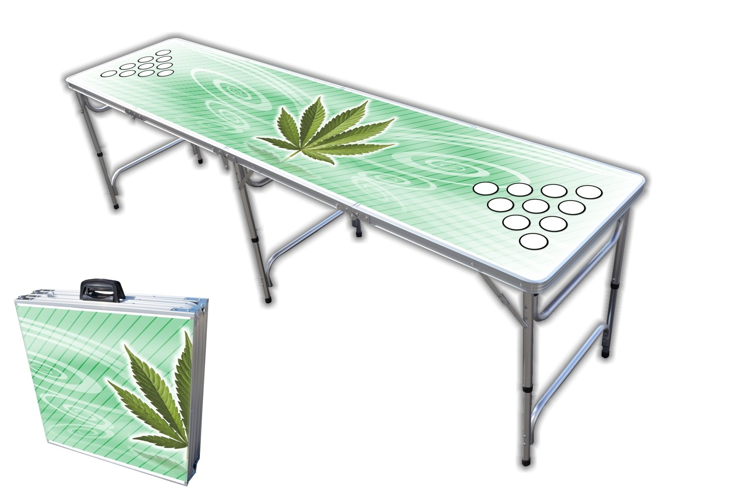 8-Foot Professional Beer Pong Table w/Cup Holes - High Times Graphic by PartyPongTables.com