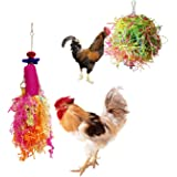 Vehomy Chicken Toys for Hen with Natural Colorful Loofah Shredder Toys Handmade Bird Chewing Foraging Shredding Hanging Toys