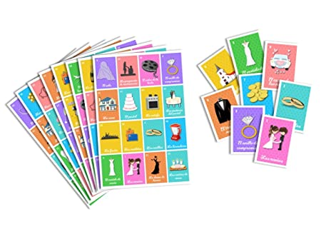Amazon.com: Juego de Lotería para Despedida de Soltera. Bingo for Bridal Shower. (16): Kitchen & Dining