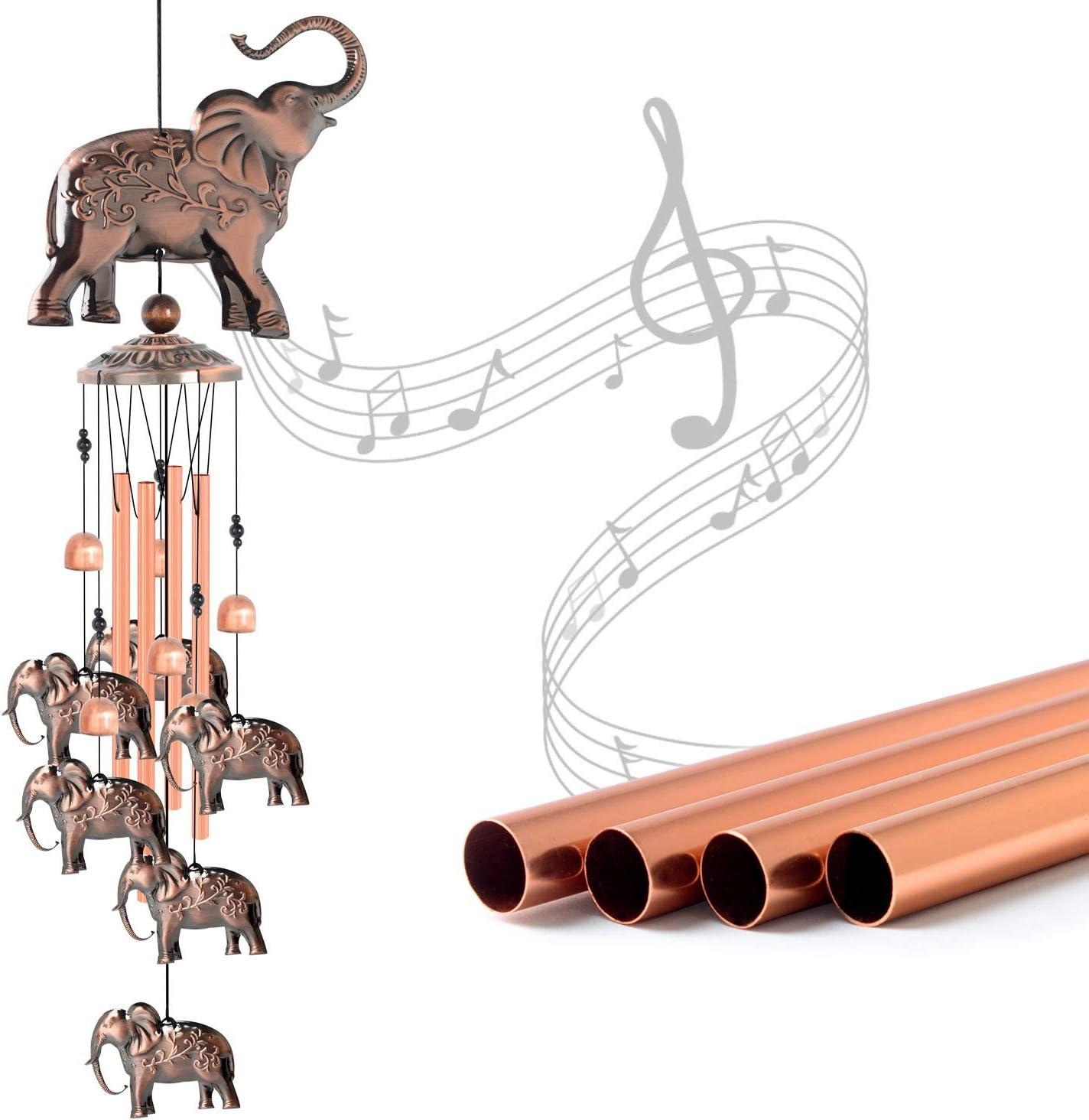 JOBOSI Elephant Wind Chime, Copper Wind Chime, Elephant Decor, Garden Decor, Yard Decor, Elephant Gifts
