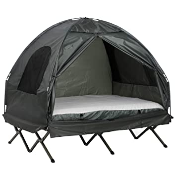 new style 4324f 46140 Outsunny Compact Pop Up Portable Folding Outdoor Elevated Camping Cot Tent  Combo Set