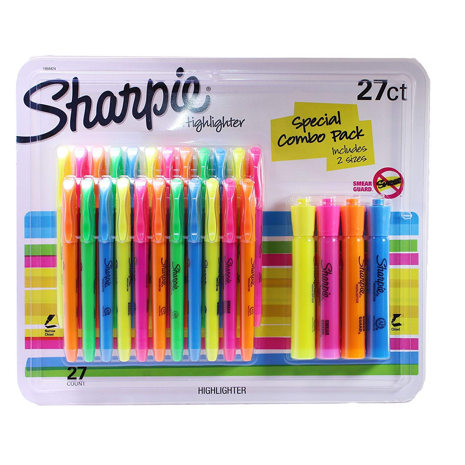 Sharpie Highlighters Assorted Colors, Includes 2 Sizes (27) by SHARPIE