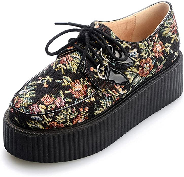 RoseG Womens Oxford Lace up Leather Platform Creeper Shoes