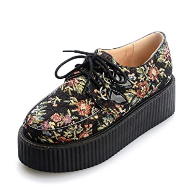 RoseG Mujer Zapatos Plataforma Cordones Creepers Flor Size37 9F2lk56WD