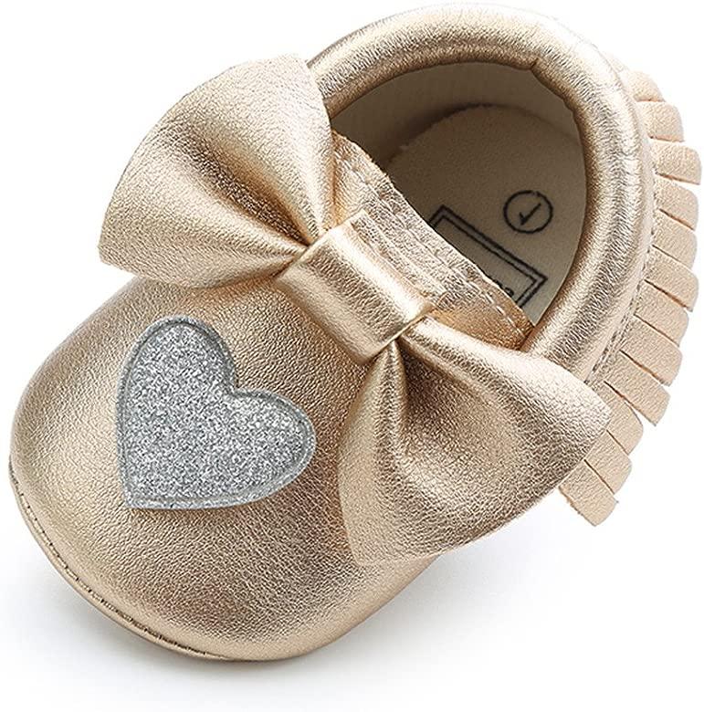 Bebila Double/Bow/Fringe Baby/Moccasins Soft Sole/Baby Shoes/Girls/Toddler Crib Flats