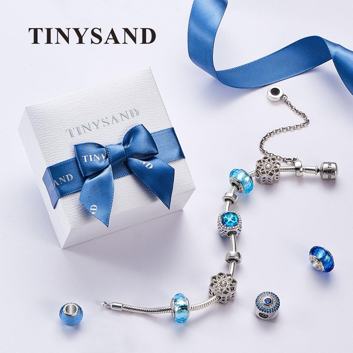 TINYSAND 13.65*12.50*8.73 Perle Europeenne Fleur Avec Zircon Vert 925 Argent Sterling Charms et Breloque