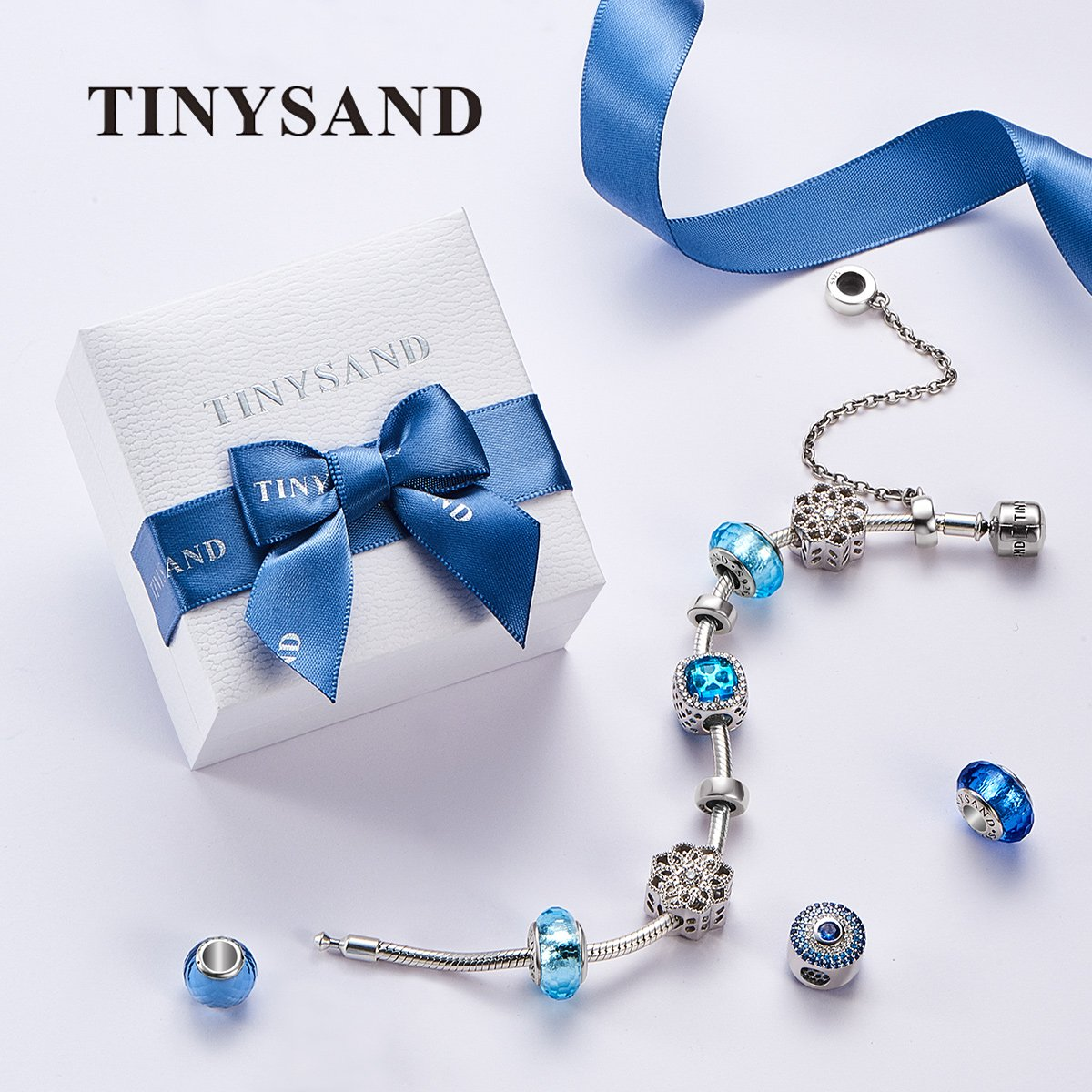 TINYSAND 925 Sterling Silver Dazzling CZ Clip Lock Stopper Spacers Charms Beads Fits European Snake Bracelet Bangle Unique Jewelry for Girls Women by TINYSAND (Image #6)