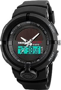 Men's Solar Watch LED Quartz Watch Analog Digital Watch Waterproof Outdoor Watch Military Sports Watch