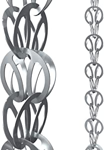 Rain Chains Direct Modern Loop Rain Chain, 8.5 Feet Length, Aluminum, Gray, Functional and Decorative Replacement for Gutter Downspouts