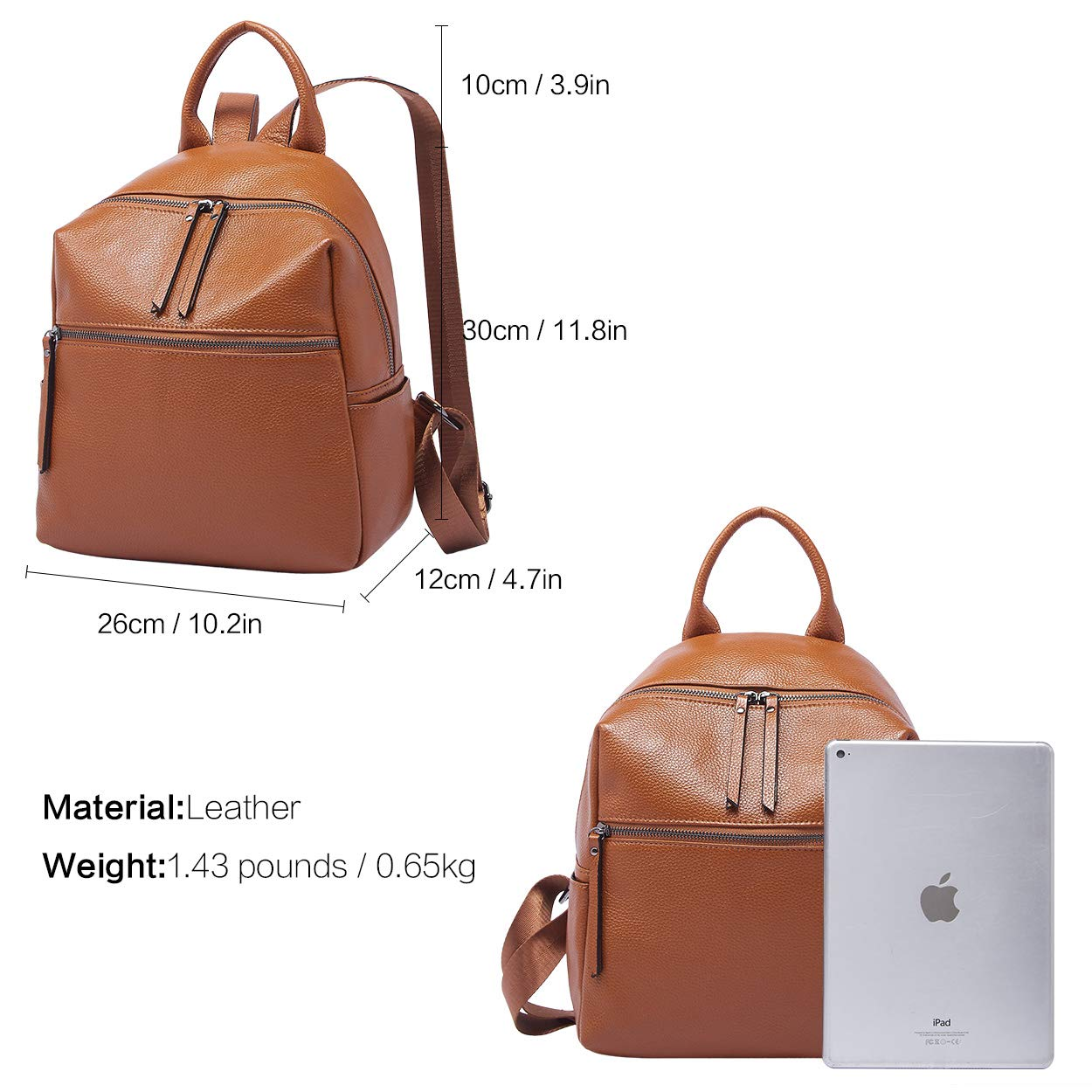 BOYATU Genuine Leather Backpack Purse for Women Anti-theft Small Shoulder Bags by BOYATU (Image #3)