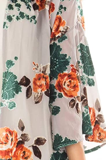 Women's Floral Print Puff Sleeve Kimono Cardigan