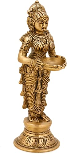CraftVatika Indian Lady Holding Lamp Diya Brass Pooja Candle Holder Religious Oil Lamp Diya Home Decor Gifts