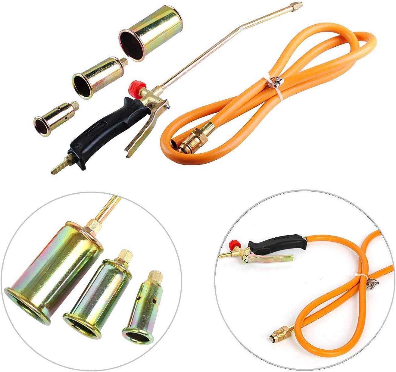 YaeTek Portable Propane Weed Torch Burner Fire Starter Ice Melter Melting with 3 Nozzles and Hose