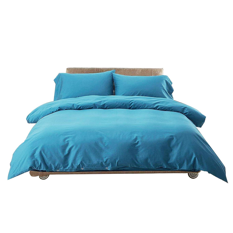 Bettwäsche blau Set 4teilig Bettbezug 100% Bio-Baumwolle einfarbig 200x 230cm Bettdeckenbezug Microfaser mit 2x 50x70cm Kissenbezug